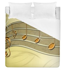 Music Staves Clef Background Image Duvet Cover (queen Size)