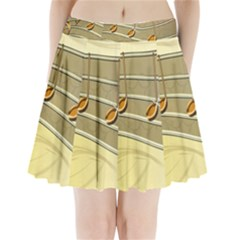 Music Staves Clef Background Image Pleated Mini Skirt