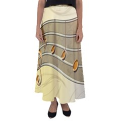 Music Staves Clef Background Image Flared Maxi Skirt