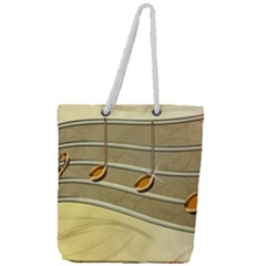Music Staves Clef Background Image Full Print Rope Handle Tote (large)