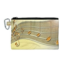 Music Staves Clef Background Image Canvas Cosmetic Bag (medium)