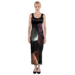 Crystals Background Design Luxury Fitted Maxi Dress