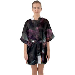 Crystals Background Design Luxury Quarter Sleeve Kimono Robe