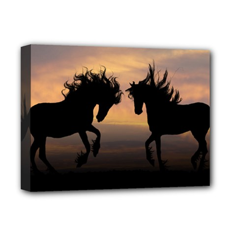 Horses Sunset Photoshop Graphics Deluxe Canvas 16  X 12