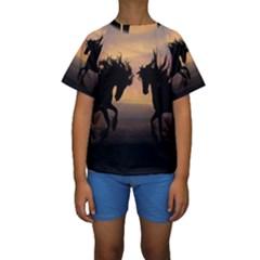 Horses Sunset Photoshop Graphics Kids  Short Sleeve Swimwear