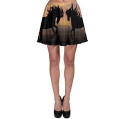 Horses Sunset Photoshop Graphics Skater Skirt