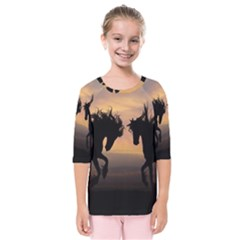 Horses Sunset Photoshop Graphics Kids  Quarter Sleeve Raglan Tee