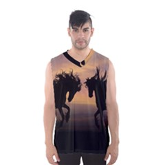 Horses Sunset Photoshop Graphics Men s Basketball Tank Top