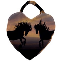 Horses Sunset Photoshop Graphics Giant Heart Shaped Tote