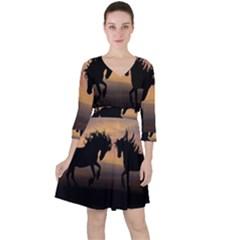 Horses Sunset Photoshop Graphics Ruffle Dress