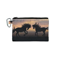 Horses Sunset Photoshop Graphics Canvas Cosmetic Bag (small)
