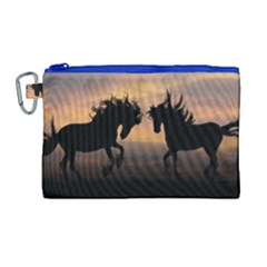 Horses Sunset Photoshop Graphics Canvas Cosmetic Bag (large)