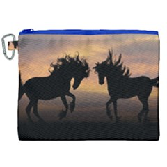 Horses Sunset Photoshop Graphics Canvas Cosmetic Bag (xxl)