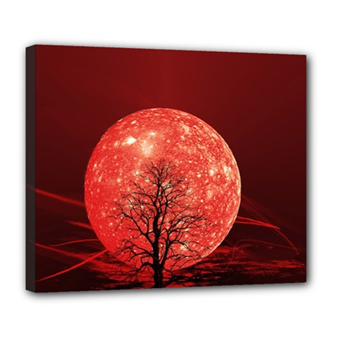 The Background Red Moon Wallpaper Deluxe Canvas 24  X 20