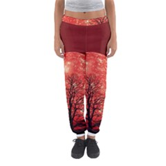The Background Red Moon Wallpaper Women s Jogger Sweatpants