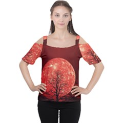 The Background Red Moon Wallpaper Cutout Shoulder Tee