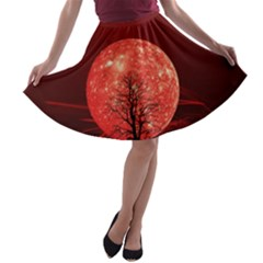 The Background Red Moon Wallpaper A Line Skater Skirt