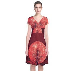 The Background Red Moon Wallpaper Short Sleeve Front Wrap Dress