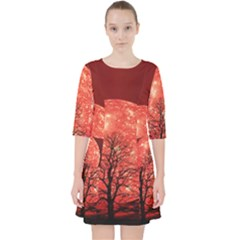 The Background Red Moon Wallpaper Pocket Dress