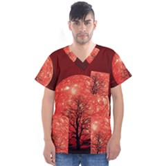 The Background Red Moon Wallpaper Men s V Neck Scrub Top