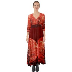 The Background Red Moon Wallpaper Button Up Boho Maxi Dress