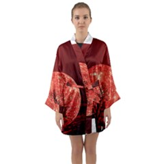 The Background Red Moon Wallpaper Long Sleeve Kimono Robe