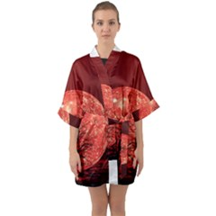 The Background Red Moon Wallpaper Quarter Sleeve Kimono Robe