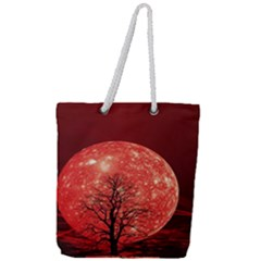 The Background Red Moon Wallpaper Full Print Rope Handle Tote (large)
