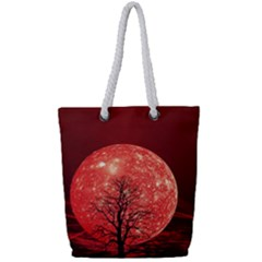 The Background Red Moon Wallpaper Full Print Rope Handle Tote (small)