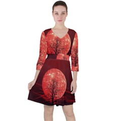 The Background Red Moon Wallpaper Ruffle Dress