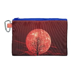 The Background Red Moon Wallpaper Canvas Cosmetic Bag (large)