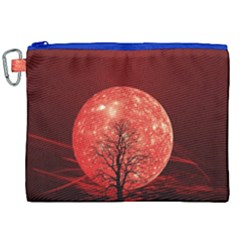 The Background Red Moon Wallpaper Canvas Cosmetic Bag (xxl)