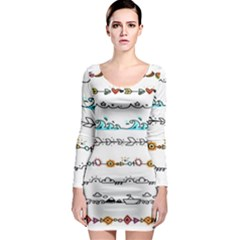 Decoration Element Style Pattern Long Sleeve Bodycon Dress
