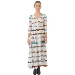 Decoration Element Style Pattern Button Up Boho Maxi Dress