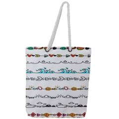 Decoration Element Style Pattern Full Print Rope Handle Tote (large)
