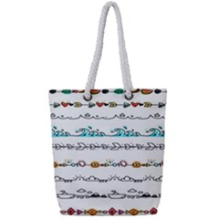 Decoration Element Style Pattern Full Print Rope Handle Tote (small)