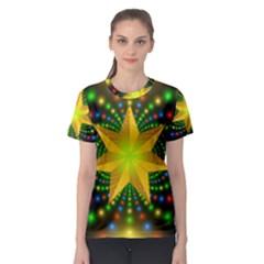 Christmas Star Fractal Symmetry Women s Sport Mesh Tee