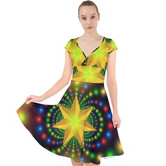 Christmas Star Fractal Symmetry Cap Sleeve Front Wrap Midi Dress