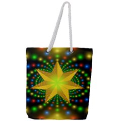 Christmas Star Fractal Symmetry Full Print Rope Handle Tote (large)
