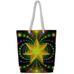 Christmas Star Fractal Symmetry Full Print Rope Handle Tote (small)