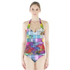 Color Abstract Visualization Halter Swimsuit