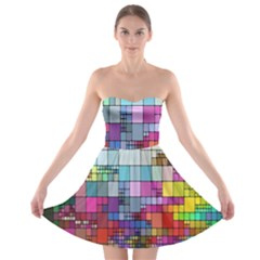 Color Abstract Visualization Strapless Bra Top Dress
