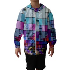 Color Abstract Visualization Hooded Wind Breaker (kids)
