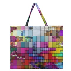 Color Abstract Visualization Zipper Large Tote Bag