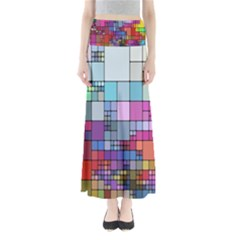 Color Abstract Visualization Full Length Maxi Skirt