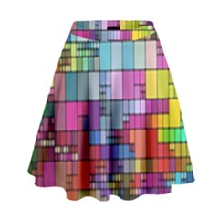 Color Abstract Visualization High Waist Skirt