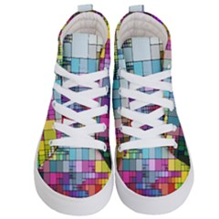 Color Abstract Visualization Kid s Hi Top Skate Sneakers
