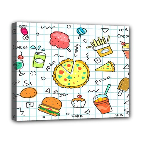 Colorful Doodle Soda Cartoon Set Deluxe Canvas 20  X 16