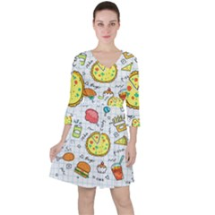 Colorful Doodle Soda Cartoon Set Ruffle Dress
