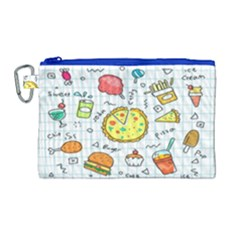 Colorful Doodle Soda Cartoon Set Canvas Cosmetic Bag (large)